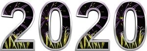 Årstallet 2020 med illustrasjon av fyrverkeri